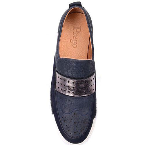 Кожаные туфли Prego синего цвета с белой строчкой вдоль подошвы, фото