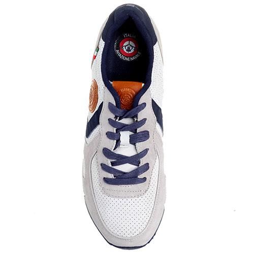 Замшевые кроссовки белого цвета с синими вставками Aviazione Navale, фото