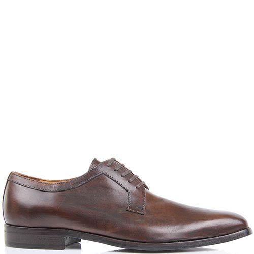 Туфли-дерби Borsalino коричневого цвета из гладкой кожи, фото