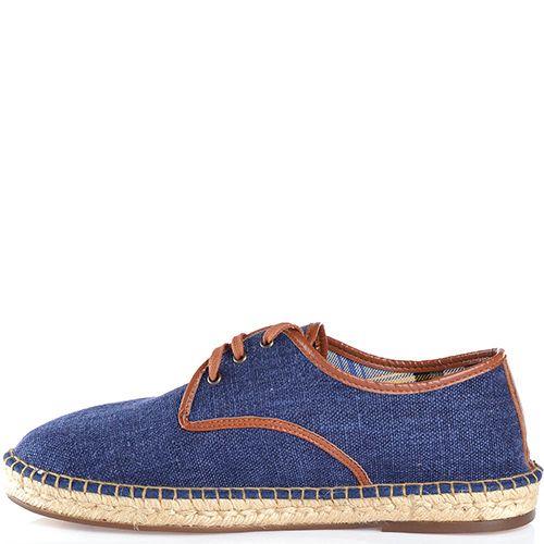 Туфли-эспадрильи Escadrille на шнуровке холщевые темно-синие с коричневой кожаной отделкой, фото