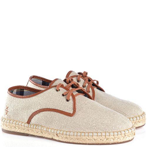 Туфли-эспадрильи Escadrille на шнуровке светлые холщевые с коричневой кожаной отделкой, фото