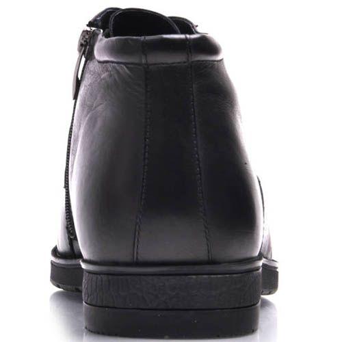 Ботинки Prego зимние кожаные с мехом черного цвета на шнуровке и тонкой металлической вставкой, фото