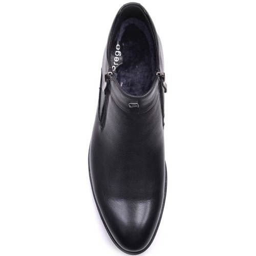 Ботинки Prego зимние кожаные черного цвета с боковыми молниями, фото