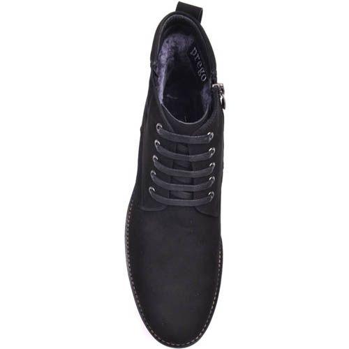 Ботинки Prego зимние черного цвета высокие из натуральной замши на шнуровке и с молнией, фото