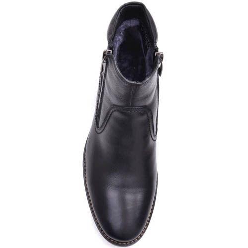 Ботинки Prego зимние черного цвета высокие кожаные с двумя молниями, фото