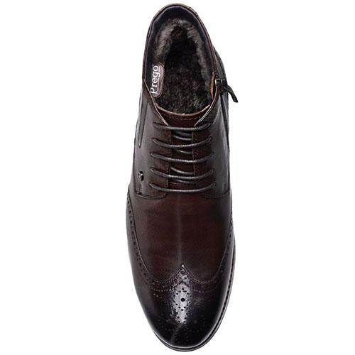 Ботинки-броги Prego из  натуральной кожи коричневого цвета, фото
