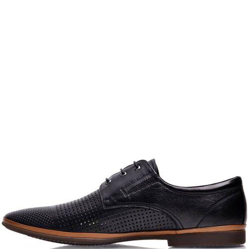Туфли Prego мужские черного цвета с мелкой перфорацией и коричневой вставкой на подошве, фото
