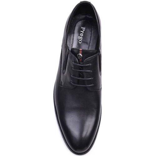 Туфли Prego черного цвета кожаные с полосатой вставкой на язычке, фото