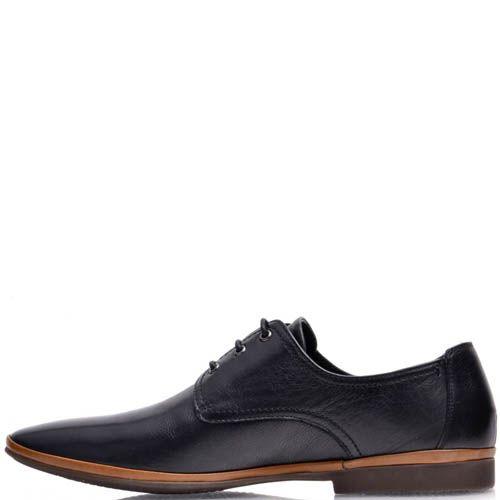 Туфли Prego мужские кожаные черного цвета с коричневой вставкой вдоль подошвы, фото