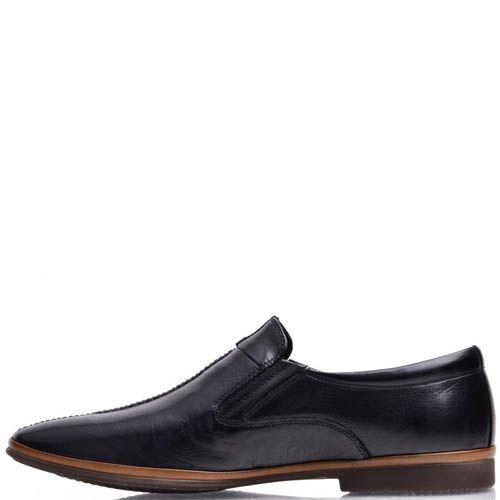 Лоферы Prego мужские кожаные черного цвета с коричневой вставкой вдоль подошвы, фото