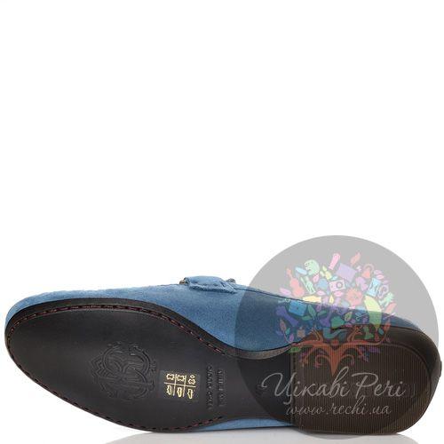 Мокасины Roberto Cavalli замшевые темно-голубые, фото