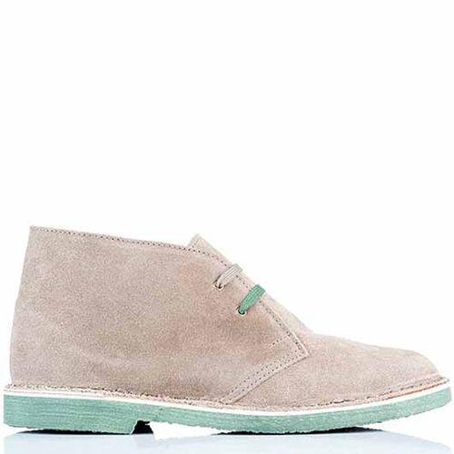 Ботинки-дезерты Bagatt замшевые светлые бежево-серые на подошве мятного цвета, фото