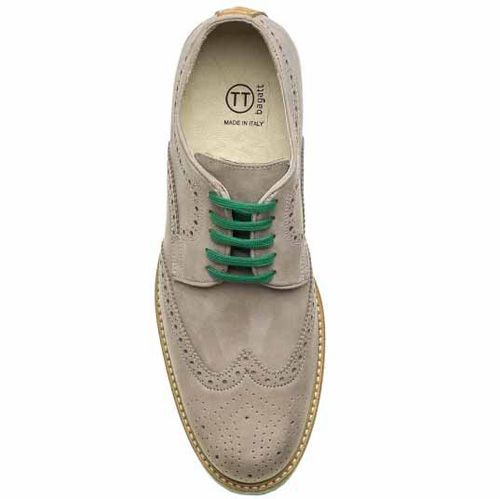 Броги Bagatt замшевые серые с зеленой подошвой и шнуровкой, фото