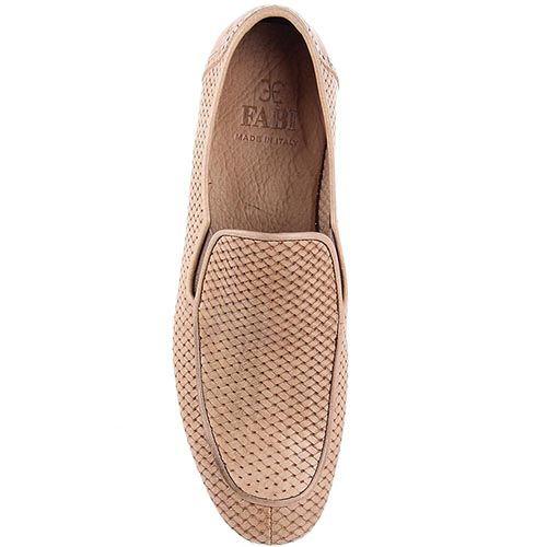 Кожаные туфли FABI бежевого цвета с имитацией переплетения, фото