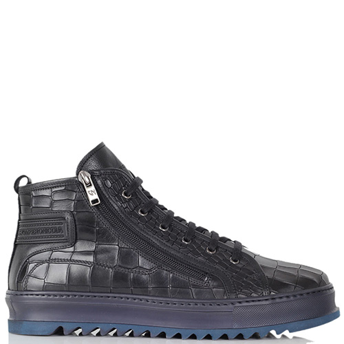 Кожаные ботинки Giampiero Nicola с фактурой кроко на темно-синей подошве, фото