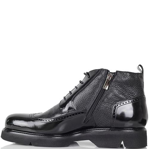 Зимние ботинки-броги Mario Bruni из крупнозернистой кожи с лаковыми вставками, фото