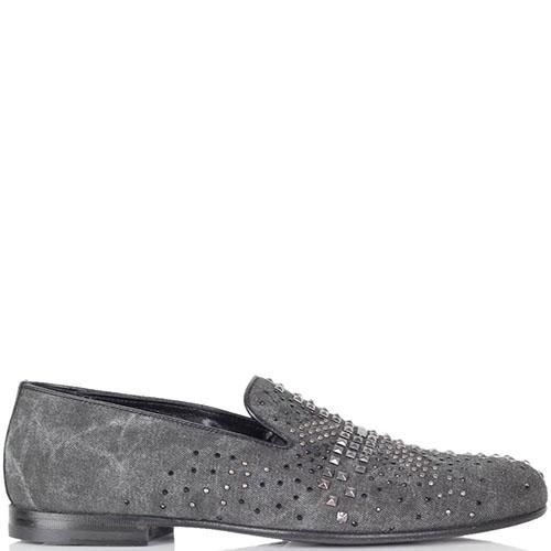 Текстильные туфли Richmond серого цвета с заклепками, фото