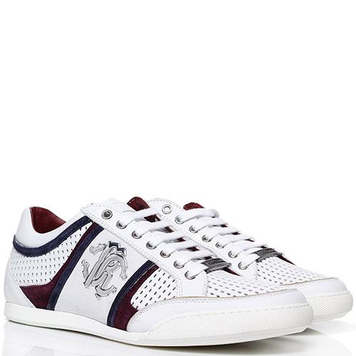 Белые кроссовки из перфорированной кожи с бордовыми вставками Roberto Cavalli с фирменным логотипом, фото