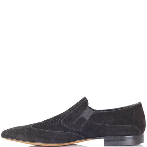 Мужские туфли Giovanni Ciccioli из натуральной замши черного цвета, фото