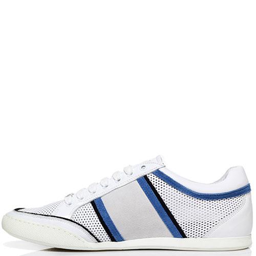 Белые кроссовки из перфорированной кожи Roberto Cavalli с фирменным логотипом, фото