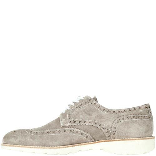 Замшевые туфли-броги Mario Bruni бежевого цвета, фото