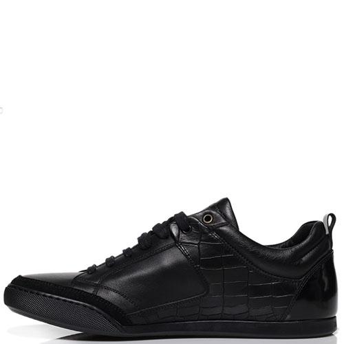 Кроссовки из кожи черного цвета Roberto Cavalli с тиснеными под рептилию вставками, фото