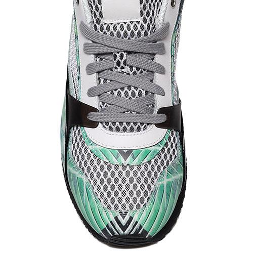 Кожаные кроссовки с ярким зеленым принтом Just Cavalli с текстильными белыми вставками, фото