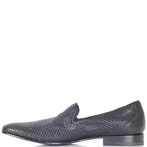 Летние туфли Richmond из кожи черного цвета с перфорацией, фото