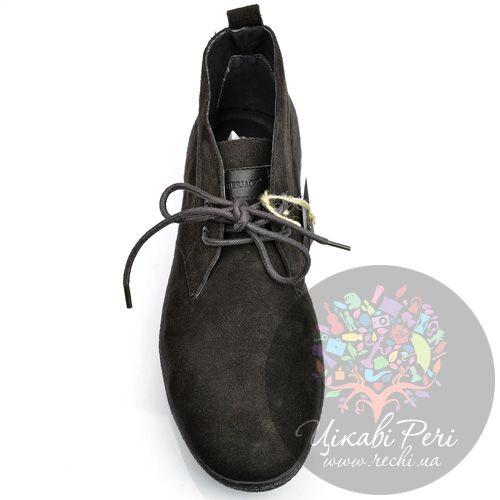 Ботинки Lumberjack темно-коричневые замшевые осенние на шнуровке, фото