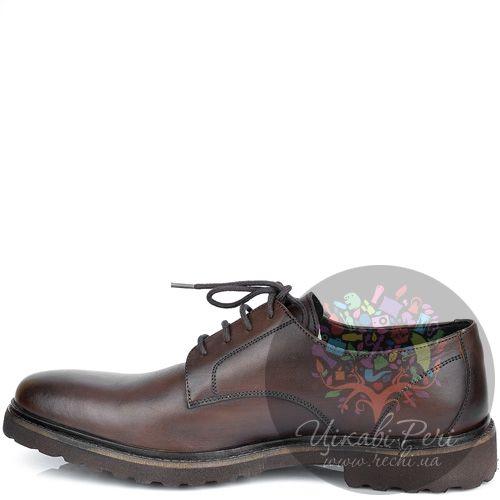 Туфли Lumberjack коричневые кожаные закрытые на толстой подошве, фото
