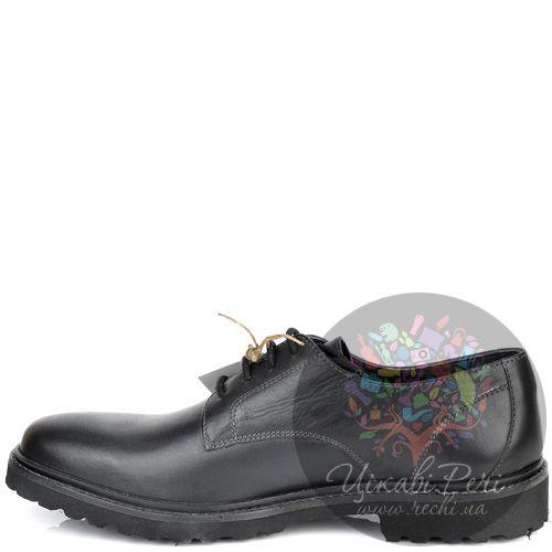 Туфли Lumberjack кожаные черные на протекторной толстой подошве, фото