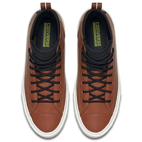 Мужские высокие кеды Converse коричневого цвета с черной шнуровкой, фото