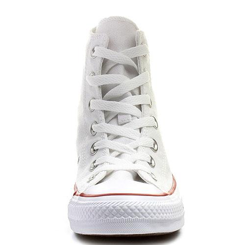 Мужские белые высокие кеды Converse с красной и синей полосами вдоль подошвы, фото