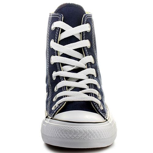 Мужские синие высокие кеды Converse с белой подошвой и шнуровкой, фото