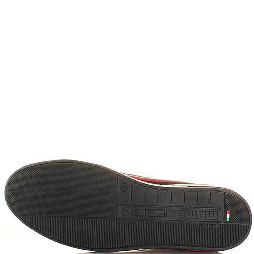 Мужские кеды Momodesign из кожи и замши черного цвета с красной вставкой, фото