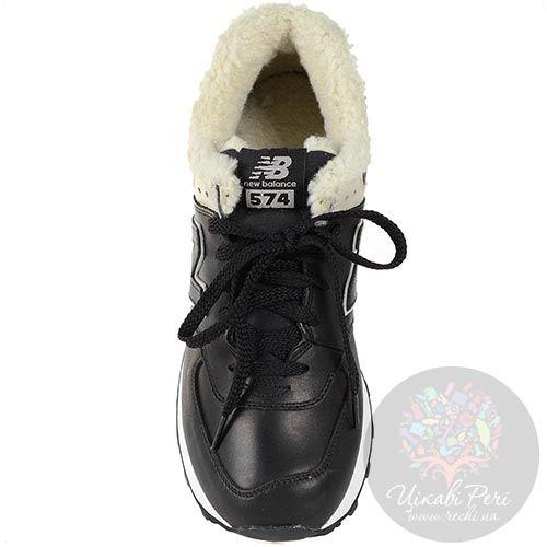 Зимние кожаные кроссовки New Balance LifeStyle 574 Fur с мехом черные мужские, фото