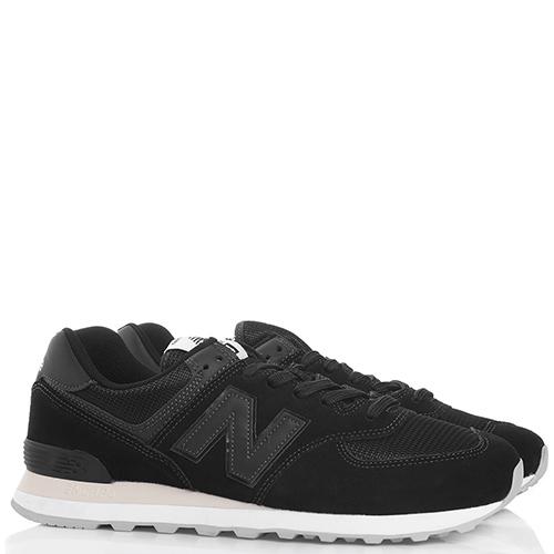 Черные кроссовки New Balance 574 на шнуровке, фото