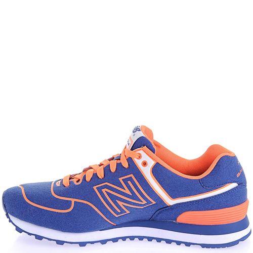 Кроссовки New Balance 574 Neon синие с ярко-оранжевым, фото