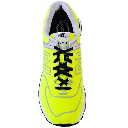 Кроссовки New Balance 574 Neon очень яркого лимонно-желтого цвета, фото