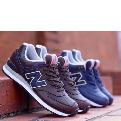Кожаные кроссовки New Balance LifeStyle 574 Fur темно-синие с серыми и коричневыми вставками, фото