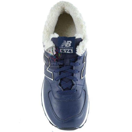 Зимние кожаные кроссовки New Balance LifeStyle 574 Fur на меху темно-синие мужские, фото