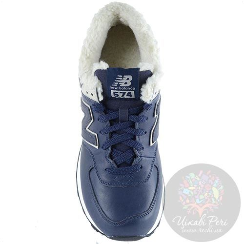 Зимние кожаные кроссовки New Balance LifeStyle 574 Fur с мехом темно-синие мужские, фото