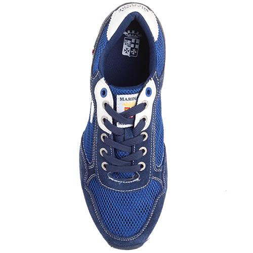 Кроссовки из замши голубого цвета с текстильными сетчатыми вставками Marina Militare, фото