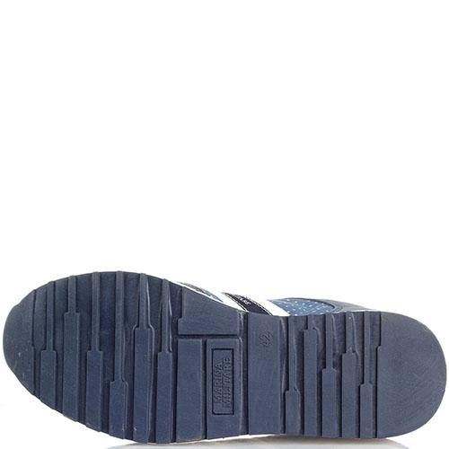 Замшевые кроссовки синего цвета с джинсовыми деталями Marina Militare, фото