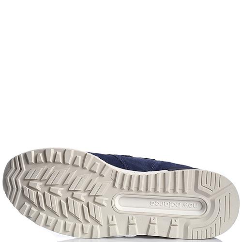 Кроссовки замшевые мужские New Balance 574 синего цвета с белой подошвой MS574FSL-o, фото
