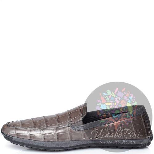 Слиперы Pakerson на протекторной спортивной подошве дымчато-коричневые с серым замшевым кантом, фото