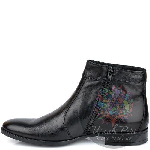 Ботинки Roberto Serpentini высокие из полированной черной кожи на молнии, фото
