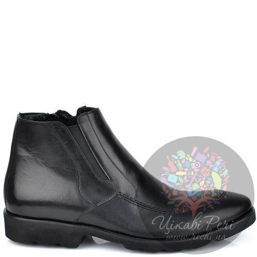 Ботинки Roberto Serpentini на молнии из черной кожи на протекторной подошве, фото