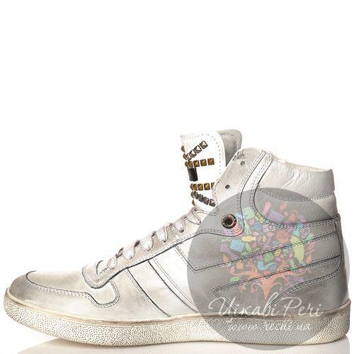 Кеды Richmond высокие кожаные белые со стильными серыми затертостями и шипами, фото