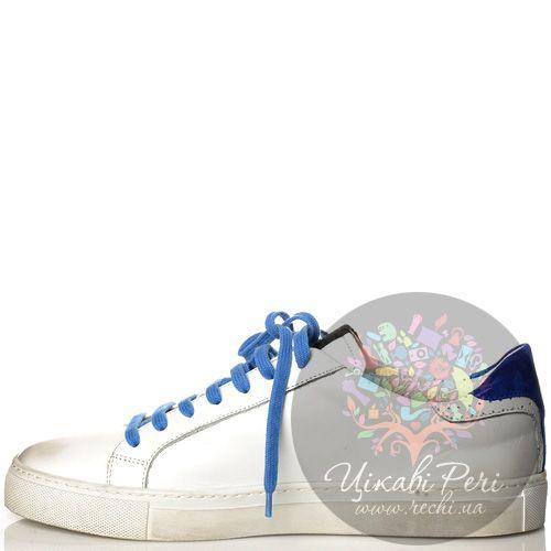 Кеды Richmond кожаные белые с синим декором, фото